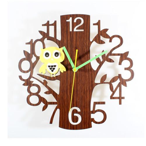 Cartoon Clocks Cute Forest Bird Wall Clocks Art Owl Watch Wall Garden Style Multi Colors Wall Sticker GZ88166(China (Mainland))