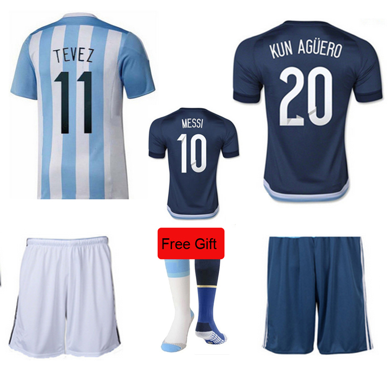 TOP Quality 15-16 MESSI TEVES football home sets suits 2015 Argentina kits away soccer jersey Free Gift Argentina socks(China (Mainland))