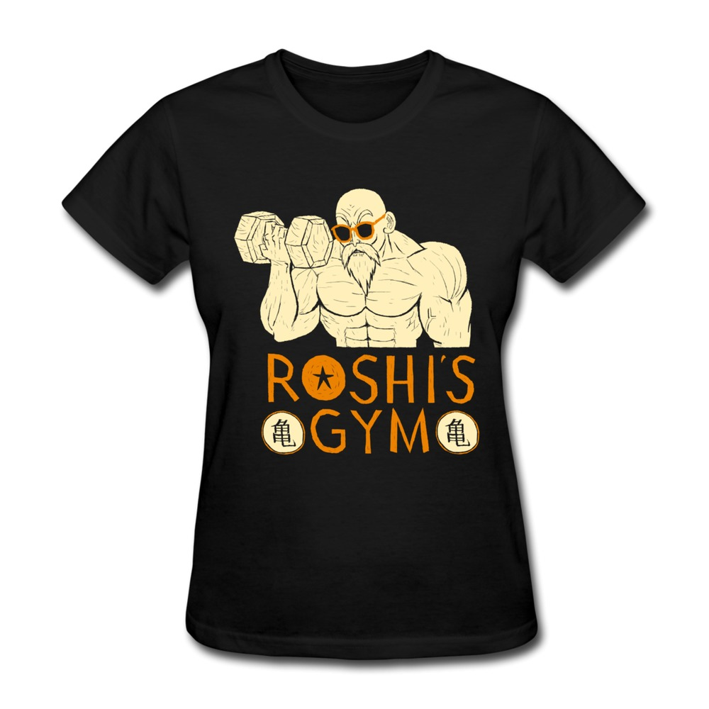 Custom solid women t shirt roshi 39 s gym funny familly t for Gym shirts womens funny