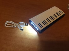 free shipping 2016 newest piano shape mobile phone portable power bank 15000mAh with 5 led lighting