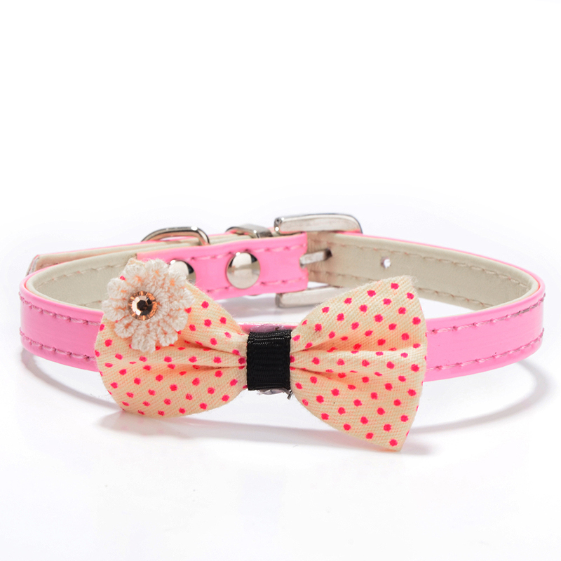 1pcs PU Leather Dog Collar Perro Puppy Pet Collars Cat Pet Accessories For Small Dogs Mascotas Animal Polka Dot Bowknot Pink(China (Mainland))
