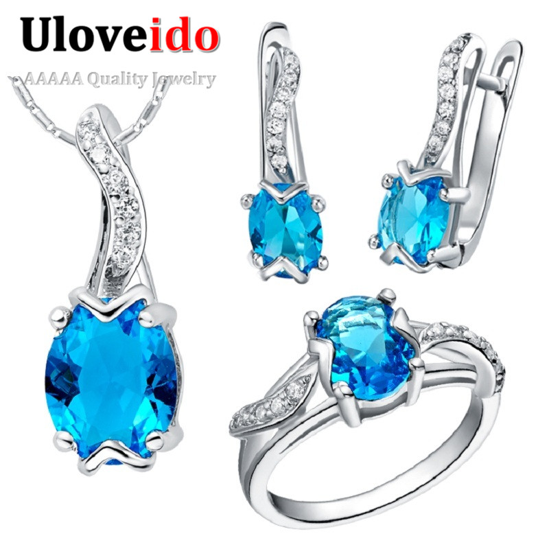 Fashion Purple Jewellery Sets for Women Wedding Necklace and Austrian Crystal Earring Set Brincos Christmas Gift Ulove T231<br><br>Aliexpress