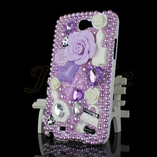 Free Shipping Hot Sell Fashion Anna Su Luxury 3D Flower Crystal Heart Case Cover For Samsung Galaxy Note II 2 N7100