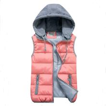women's cotton wool collar hooded down vest Removable hat Hot high quality Brand New female winter warm Jacket&Outerwear Thicken(China (Mainland))