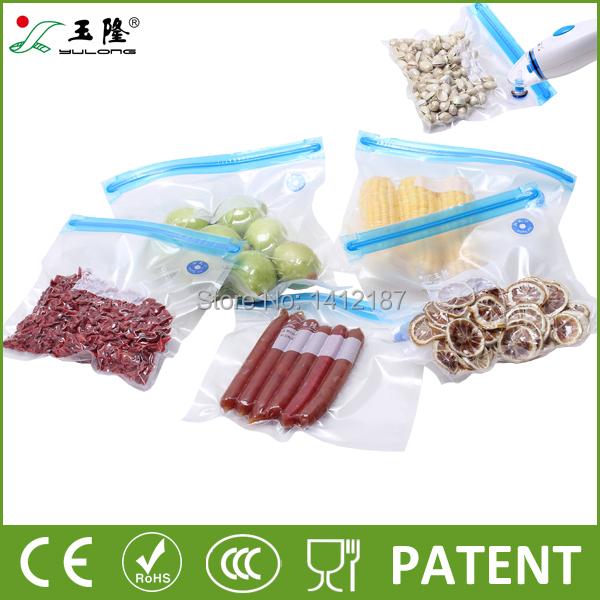 Vacuum zipper bags patent in China Vacuum food packaging bags 25pcs/set with hand pump Best vacuum storage bags(China (Mainland))