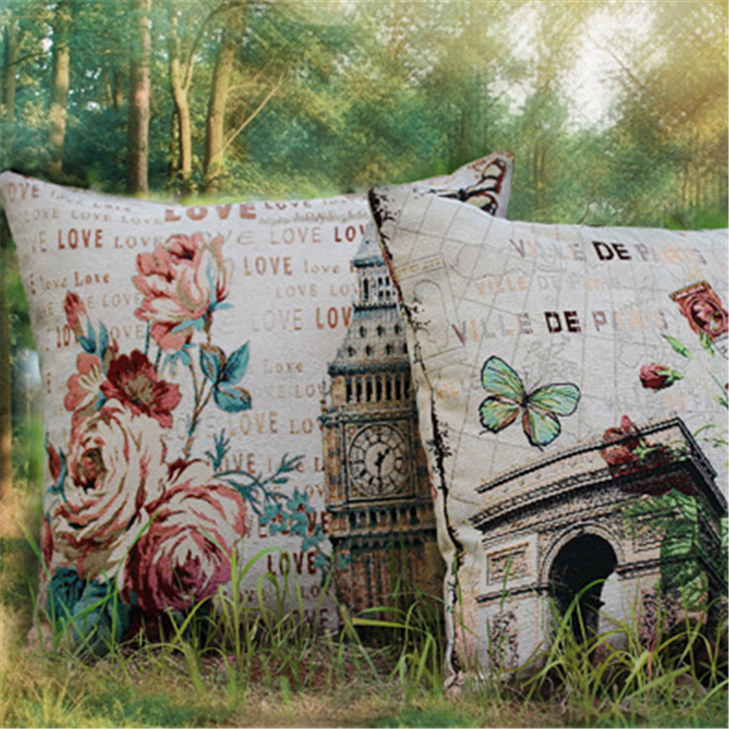 Removable Washable Paris American Vintage Style Sofa Cushion Covers for Seat Pillow Cases Wholesale Promotion Home Decoration(China (Mainland))