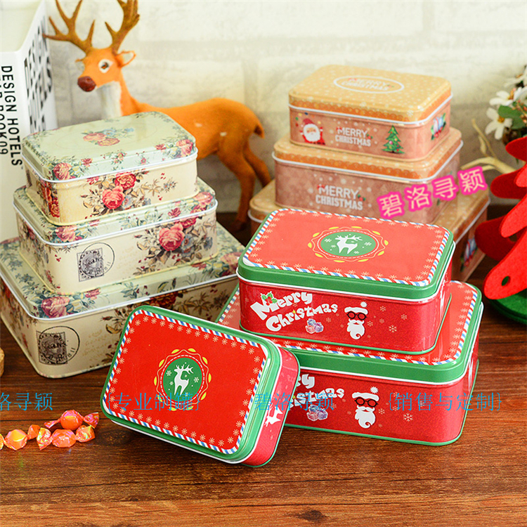 3pcs/set 2016 New Christmas Flowers style Tin box 3-Piece set storage box for candy chocolate cookies tea food home & office(China (Mainland))