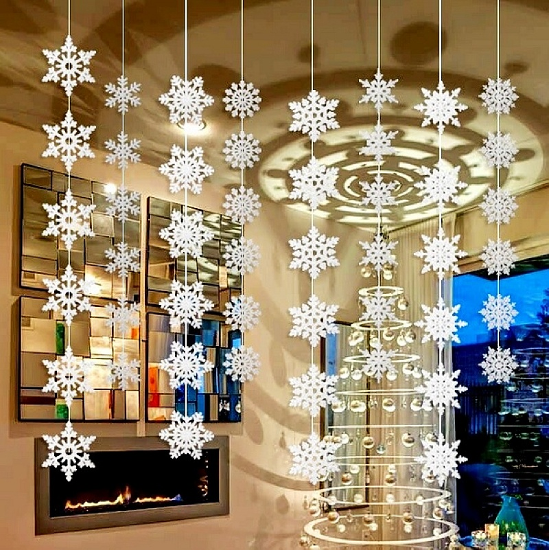 Buy wholesale 50packs silver snowflake for Hanging christmas decorations