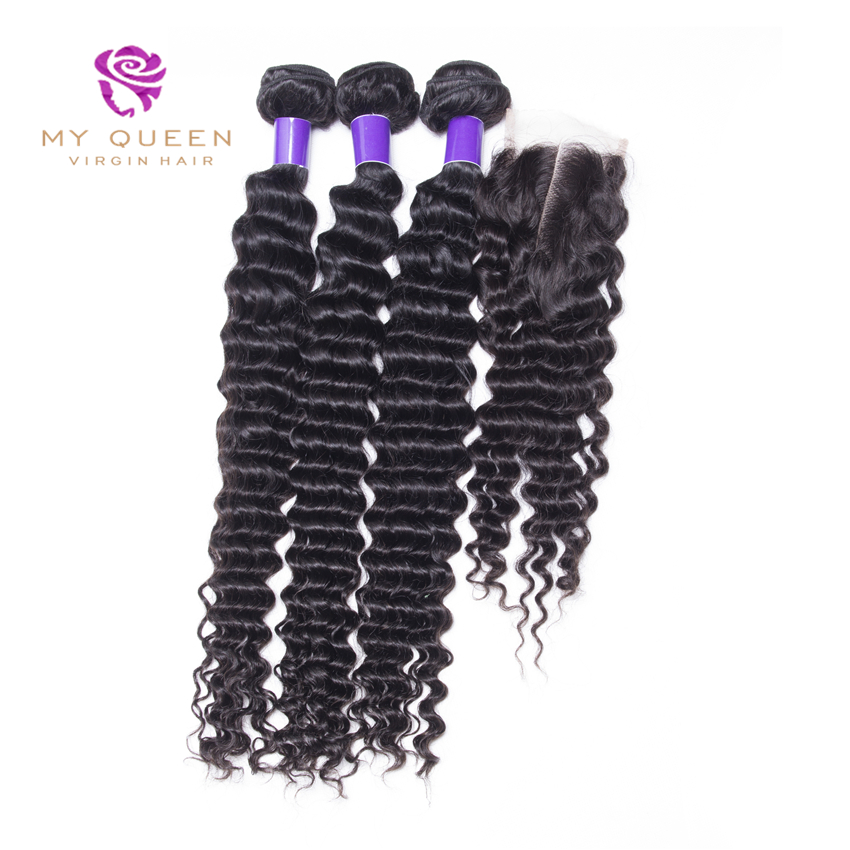 Brazilian Virgin Hair With Closure 7A Brazilian Virgin Hair Deep Wave 3 Bundles With Closure Human Hair Bundle With Lace Closure