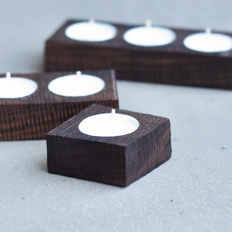 High Quality Handmade Candlestick Manual Black Walnut Wood Candle Holders Scented Candles Holder Home Decoration M-2080(China (Mainland))