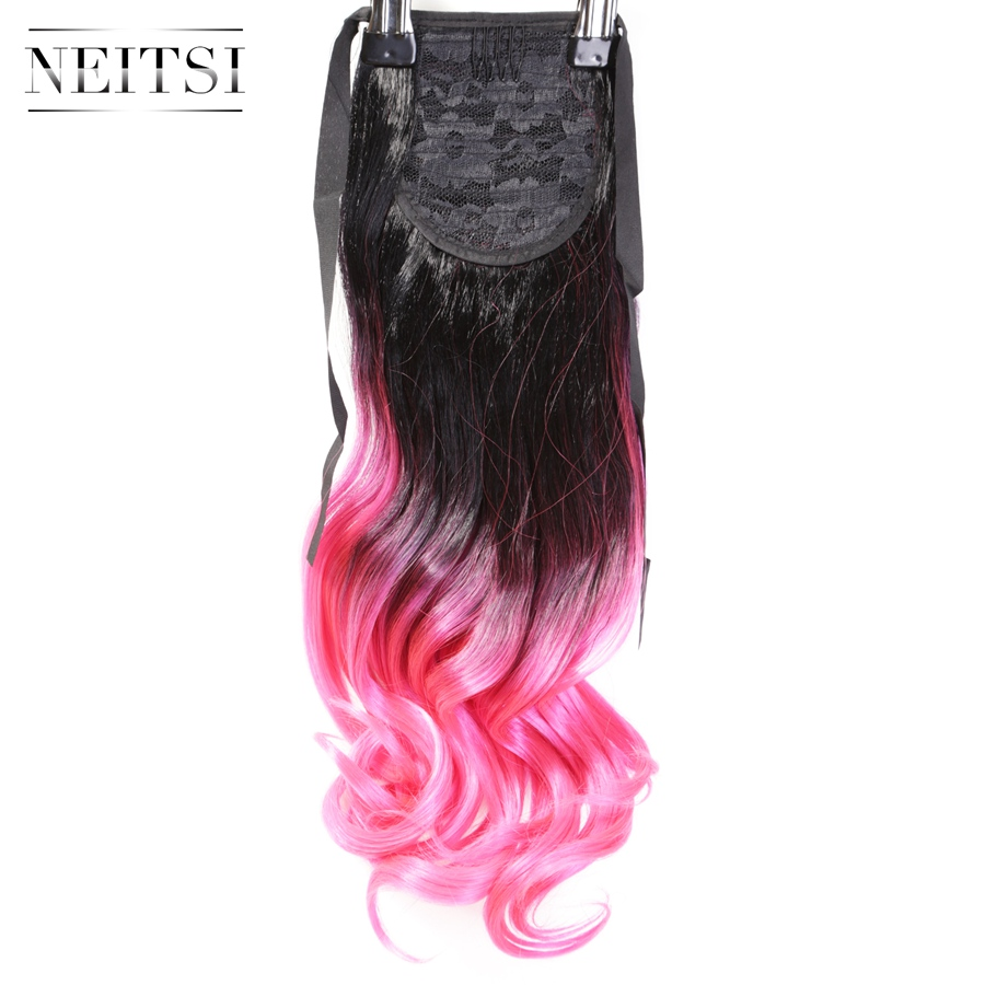 "Neitsi 22"" Pink Two Tone Ombre Synthetic Ponytail Hair Wavy Extensions New Fashion Clip In Ponytail Long Hairpiece Fast Shipping(China (Mainland))"