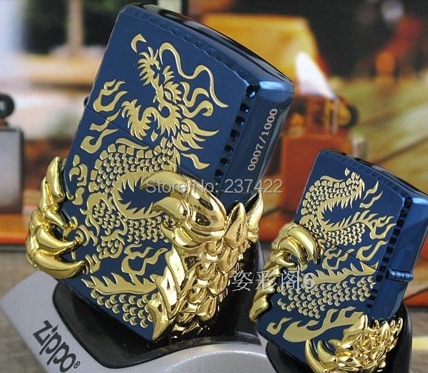 Free shipping Hot sale lighters men attached birthday present Blue Ice Tribal Dragon lighter