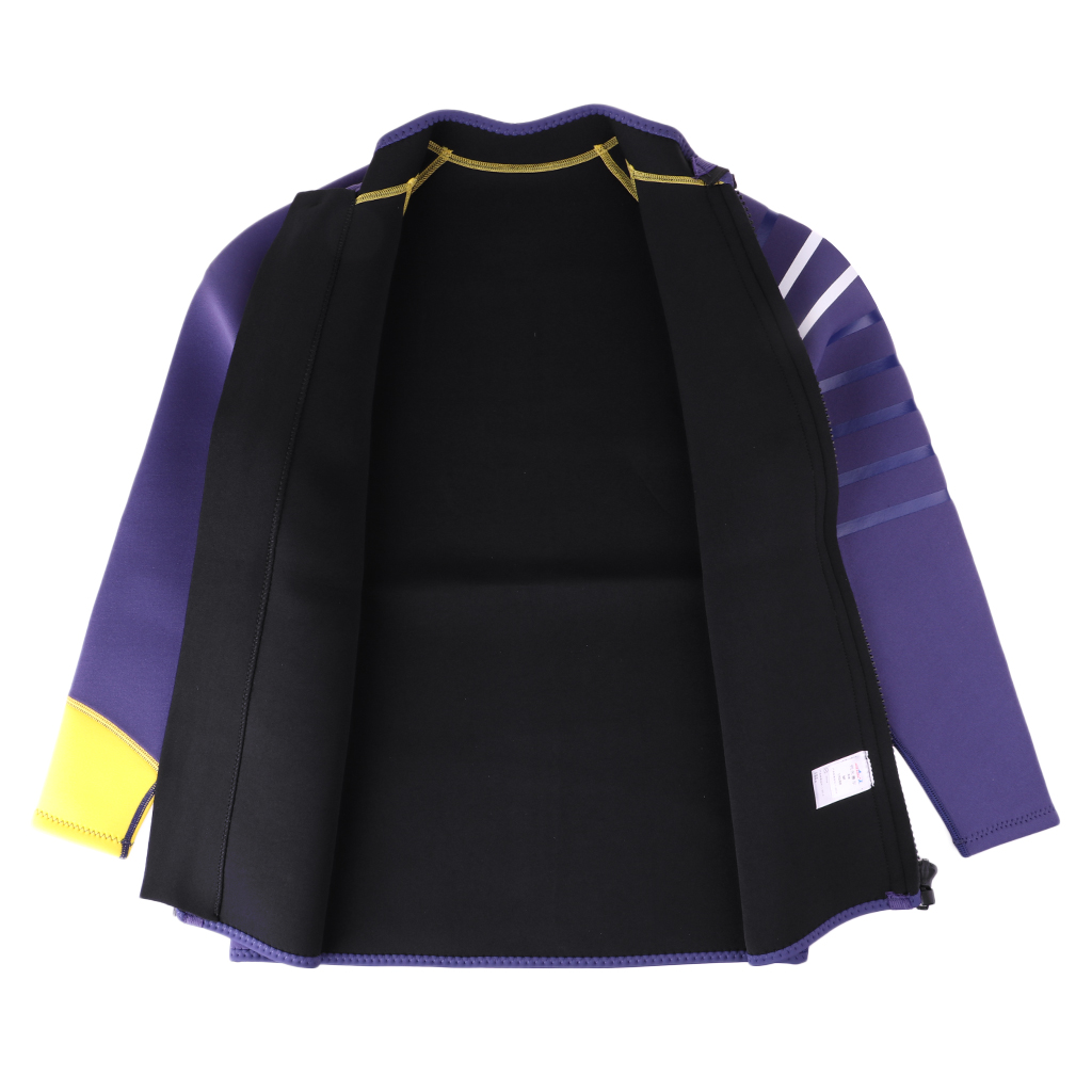 Mens 3mm Neoprene Diving Swimsuit Wetsuit Jacket for Scuba Diving Surfing Snorkeling Swimming Water Sports Purple Black