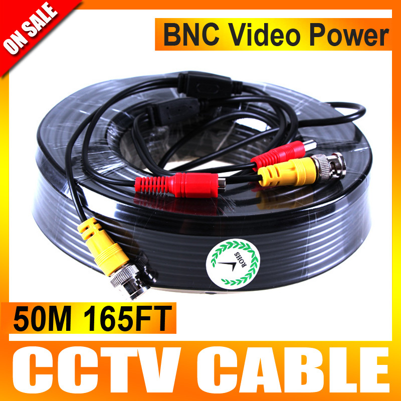 50m 165ft Power Video CCTV Cable BNC Video Power Cable Security Camera Cable For CCTV Camera System(China (Mainland))