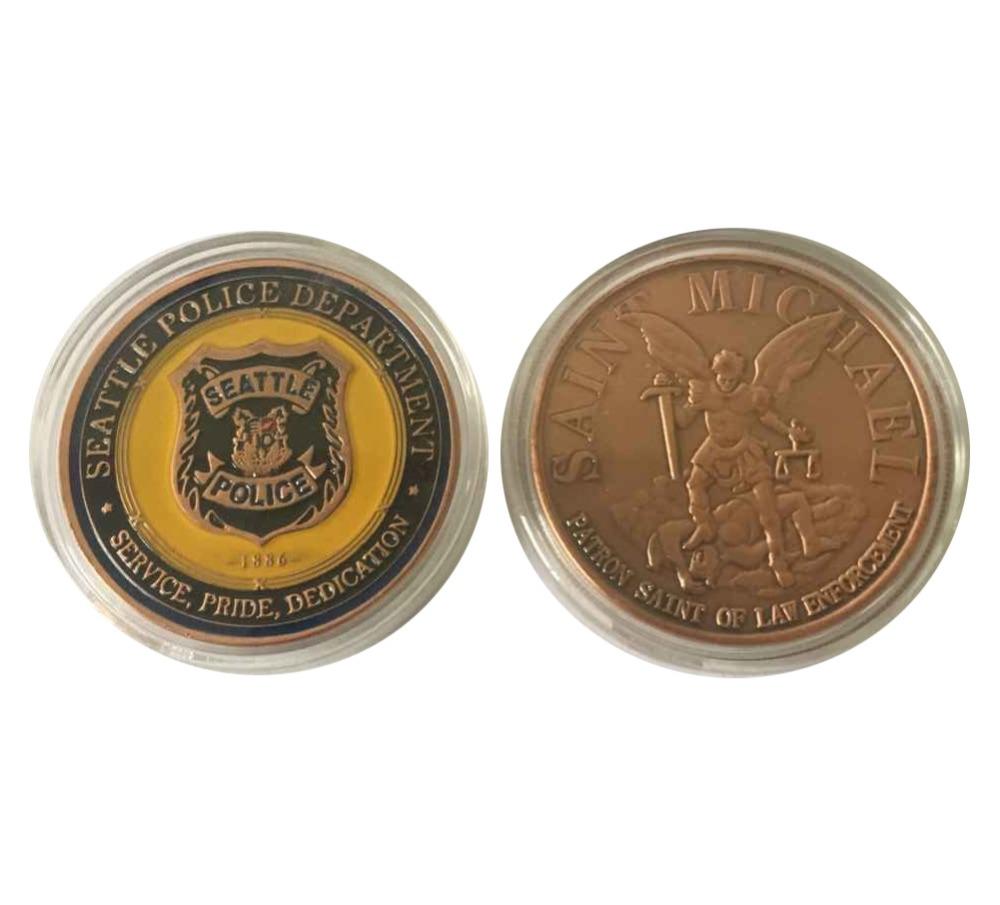 US SAINT MICHAEL FATRON SAINT of LAW ENFORCEMENT - Seattle Police Challenge Coin(China (Mainland))