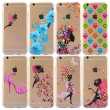 Clear Transparent Painting Butterfly Flowers Grils Pattern cases iphone 5 5s SE 6 6s plus Slim Soft phone back covers - T-OMG Technology Co,.Ltd store