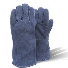 Free Shipping Hot Sale Cow Split Leather Blue Work Welding Gloves(China (Mainland))