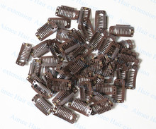 Free shipping 100pcs Brown 3.2cm9teeth hair snap wigs clips for machine wefted/weaving extension professional salon accessories