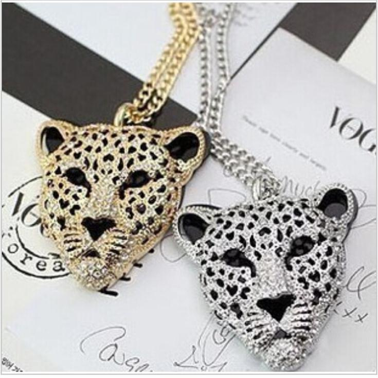 The New Queen Fan Children Sweater Chain Length Leopard Head Section Hollow Double Tiger Head Necklace And Chains Wholesale(China (Mainland))