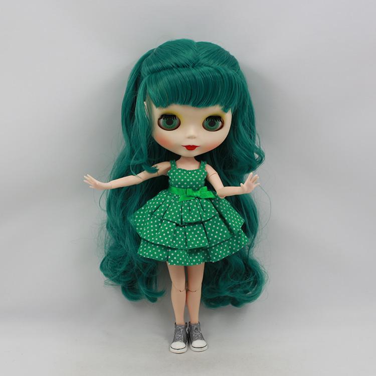 Фотография Blyth nude doll diy green long wig with bangs 30cm fashion doll joint body limited edition dolls for girls gifts