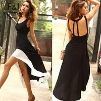 Sexy Women/Lady Deep U Neck Bare Back Backless Dress Hem Tank Swallow Tail Sleeveless Summer Long Dress free shipping 12