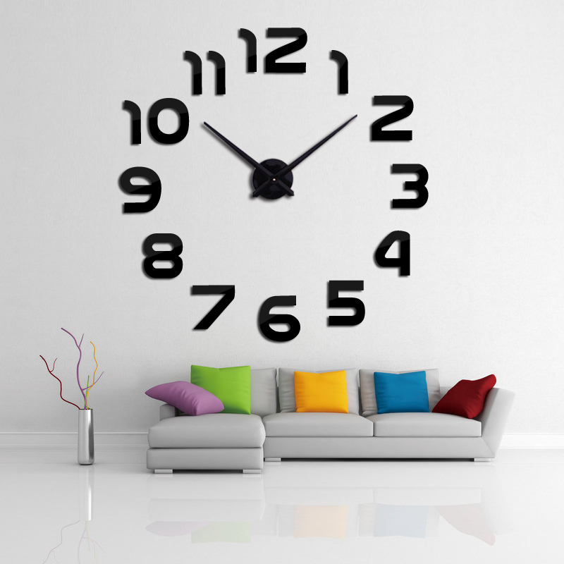 2016 new clock watch wall clocks horloge 3d diy acrylic for 3d acrylic mirror wall sticker clock decoration decor