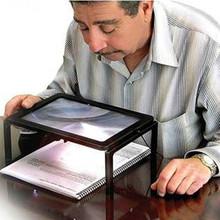 Los ancianos tamaño A4 tipo de escritorio de lectura lupa lupa lupa luminosa con 4 LED lámparas luces para personas mayores