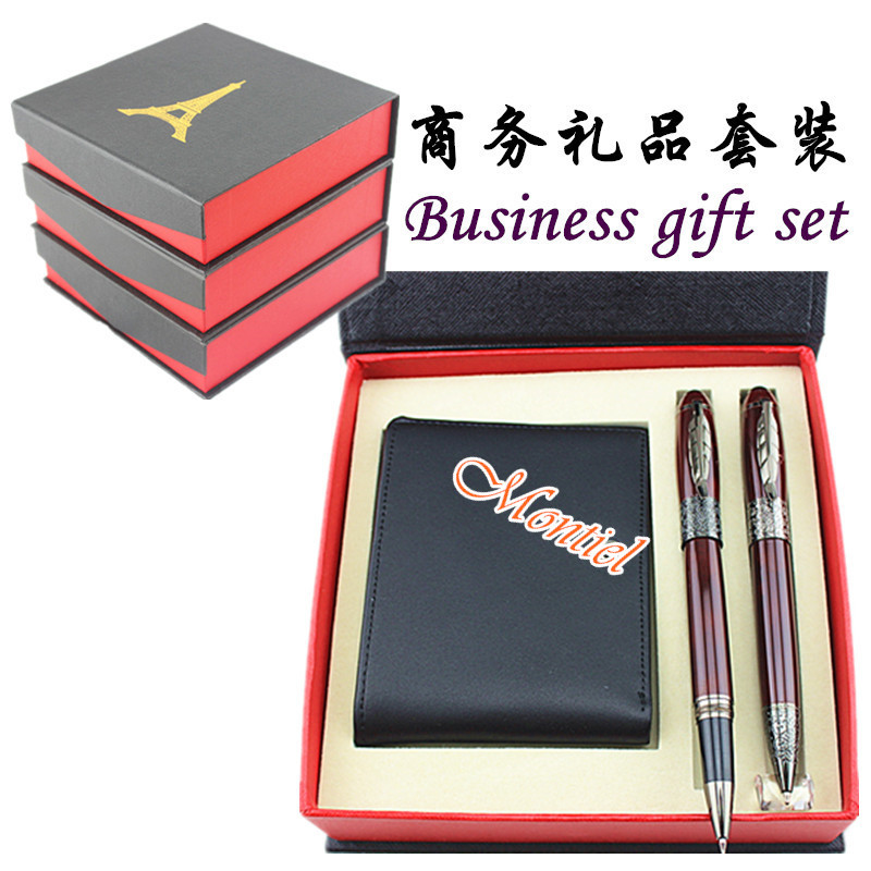 The new gift suit leather wallet with di shi ball-point pen free shipping<br><br>Aliexpress
