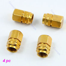 Free Shipping 40pcs/lot Gold Hexagonal Tyre Wheel Ventil Valve Cap For Auto Car Truck New
