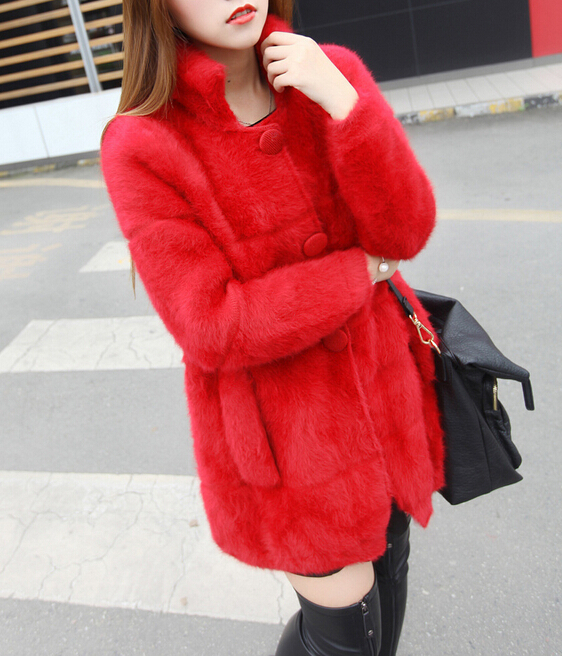 Fashion New Arrival Real Mink Fur Coat Button Natural Mink Fur Brand Fur Coat Free shipping FP553(China (Mainland))