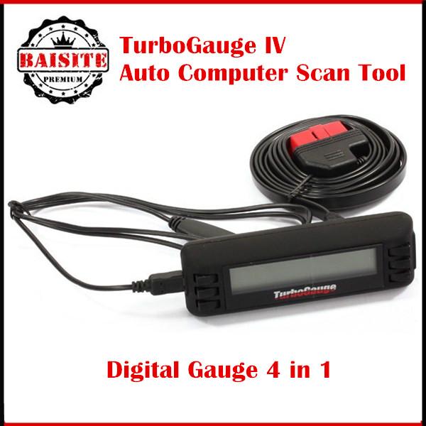 Turbogauge IV 4-in-1 Vehicle Computer OBDII/EOBD car trip computer / Digital Gauges/ scan gauge/ car diagnostic tool #TBGG-IV(China (Mainland))