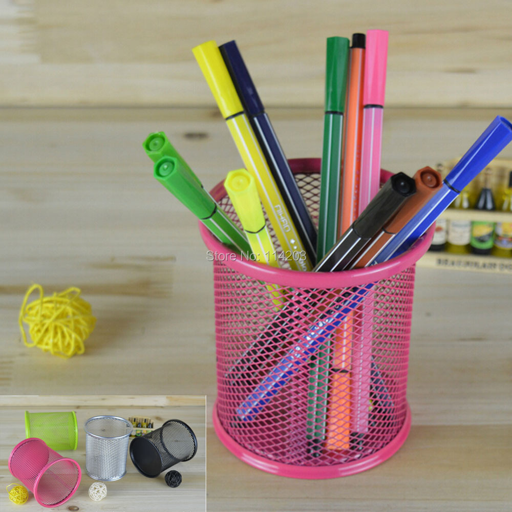 Metal Round Pen & Pencil Holder with Mesh Design Desktop Tidy Office Stationery Accessories Desk Container Pot Holder Organizer(China (Mainland))