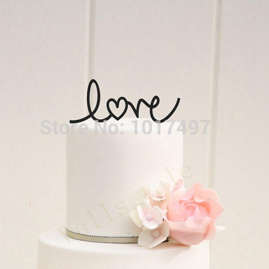 wedding cake decor LOVE with Heart Wedding Cake Topper ...