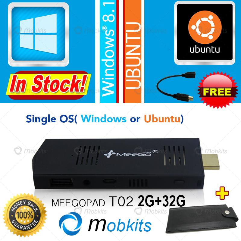 Meegopad T02 Mini PC Ubuntu or Windows 10 or 8.1 OS HDMI TV Player Quad-Core Intel Atom PC Stick Original MeeGoPad T01 Upgraded(China (Mainland))