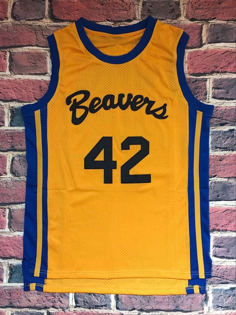 HOWARD 42 BASKETBALL JERSEY BEAVERS TEEN WOLF MOVIE MICHAEL J FOX SHIRT YELLOW ALL STITCHED(China (Mainland))