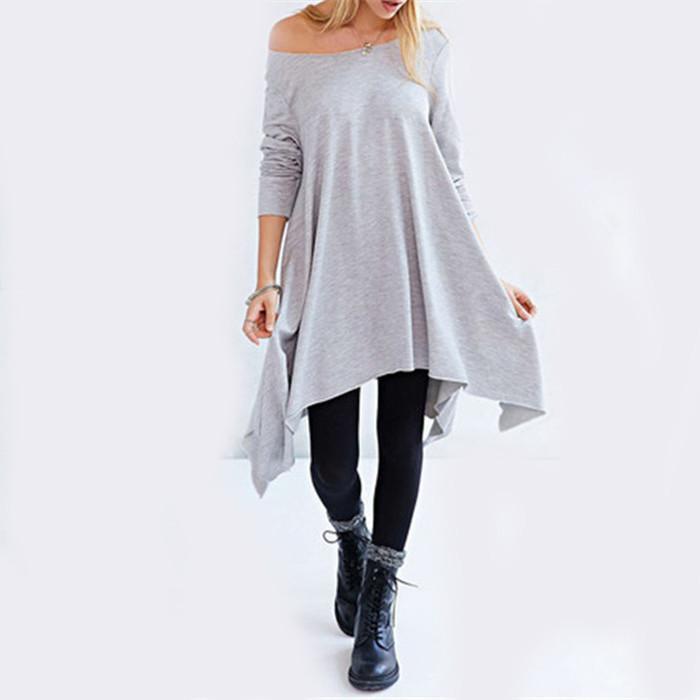 Платье с круглым вырезом mini длинный рукав, корейский женщины стиль высокая улица дизайн импортированы серый асимметричный без тары