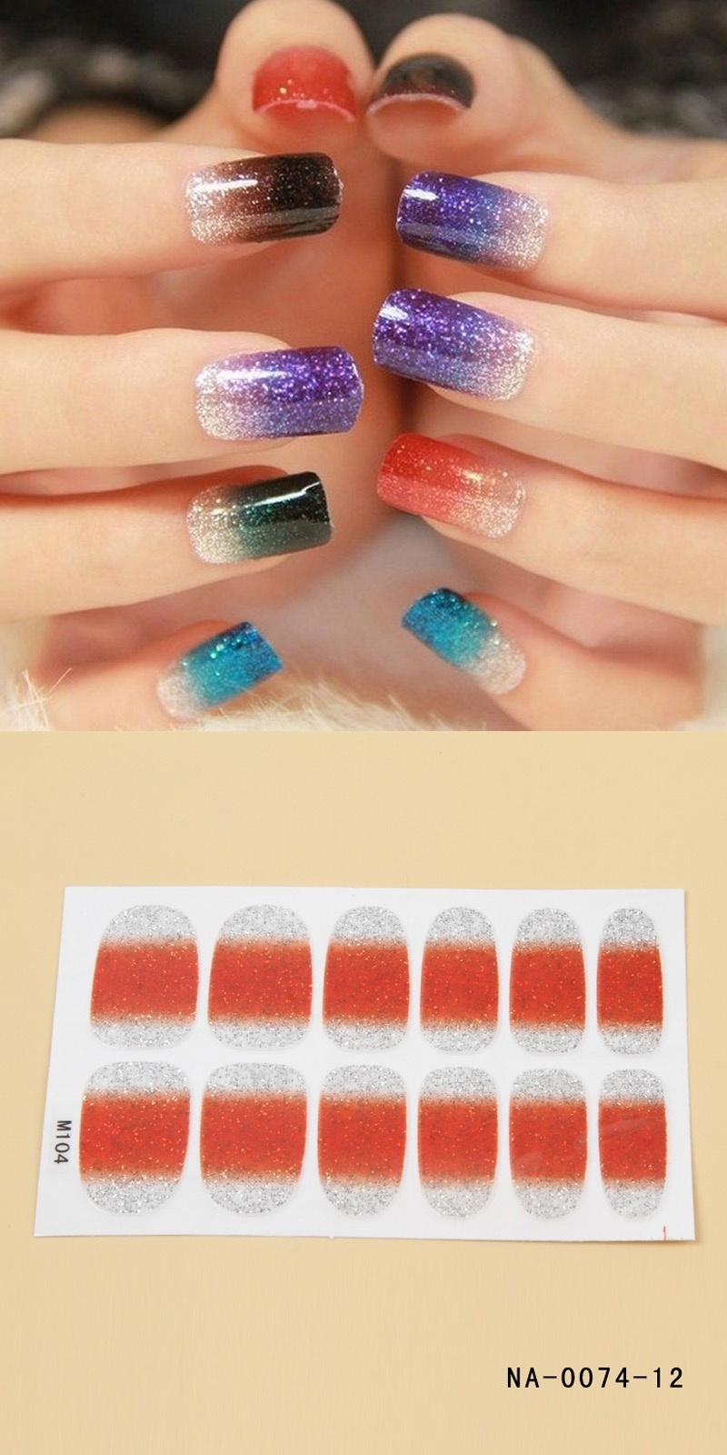High Quality 12pcs Gradient Color Nail Foils False Ultrathin Decoration Stickers with Adhesive Tape Beauty Nail Art Decals DIY(China (Mainland))