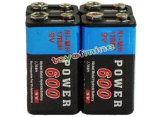 4x Durable 9V 9 Volt 600mAh Power Black Ni-Mh Rechargeable Battery PPS block(China (Mainland))