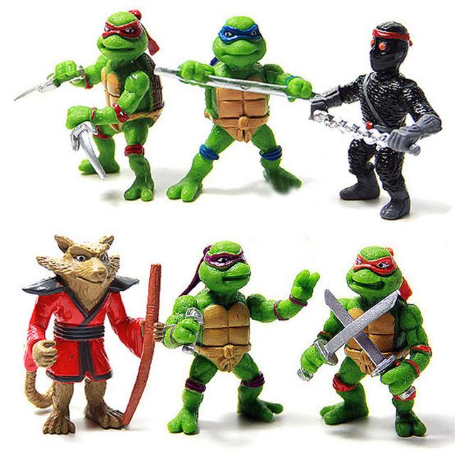 Горячие продажа 6 Шт./лот Teenage Mutant Ninja Turtles TMNT Фигурки Игрушка Набор Классическая Коллекция Игрушек для Детей