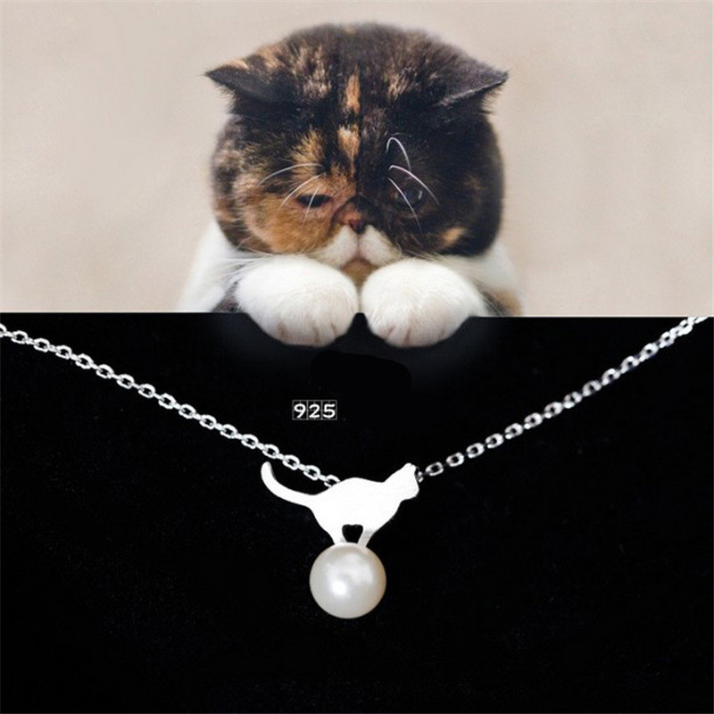 Jewdy 925 sterling silver Fashion Imitation Pearls Cute kitty cat Pendant Necklace women collar clavicle summer jewelry(China (Mainland))