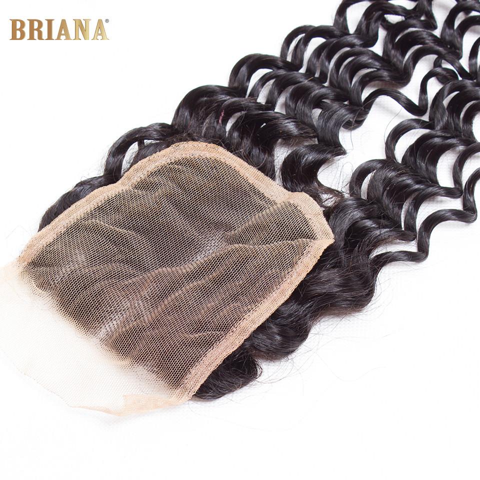 Brazilian Lace Closure Deep Wave Bleached Knots Free Part Middle Part 3 Part Human Hair Top Closure Rosa Hair Products Closure