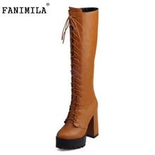 Buy Women Platform Round Toe Knee Boots Female Gladiator Lace Thick Heel Botas New Fashion High Heels Shoes Woman Size 33-43 for $32.98 in AliExpress store