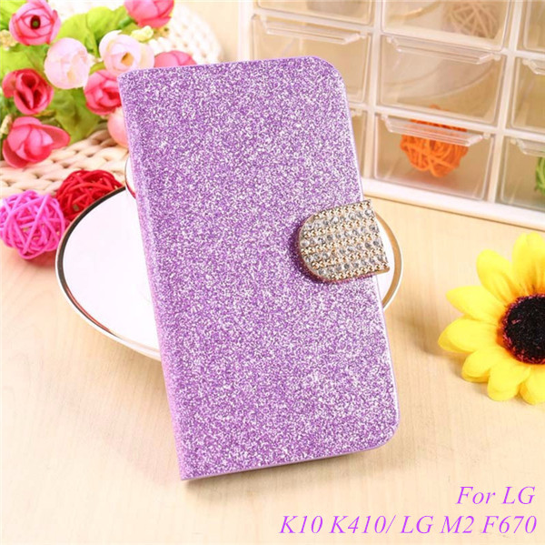 Fashion Bling Glitter Flip Case Cover LG K10 K410 K420N K430DS K430DSF / LG M2 F670 5.3'' Mobile Phone Case Card Slot