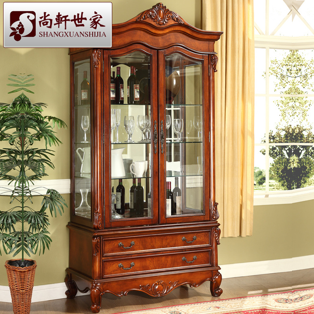 Style am ricain bois massif armoire vin br ve partition for Style ricain