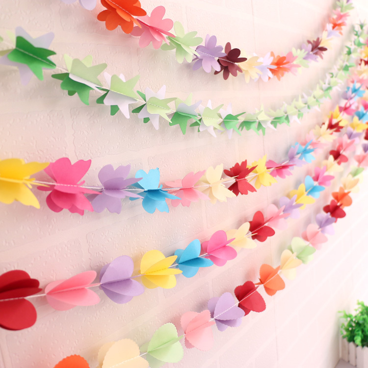 3d colored paper garland decoration heart butterfly star