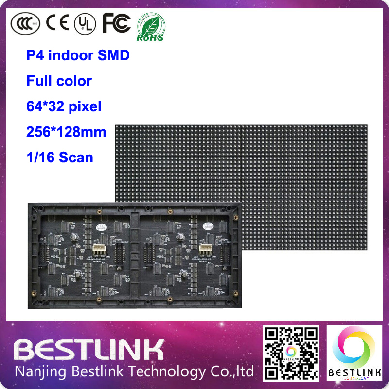 32x64 P4 SMD3528 RGB LED Advertisment Screen Module Unit board 64x32 pixels with High resolution 1/16 Scan outdoor video panels(China (Mainland))