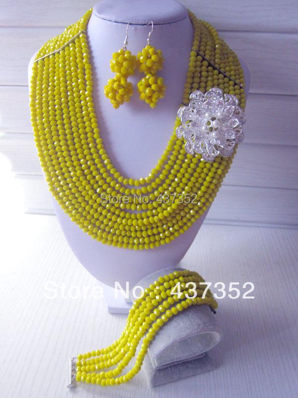 Здесь можно купить  Fashion Nigerian Wedding African Beads Jewelry set Yellow Crystal Necklace Bracelet Earrings Jewelry Set CPS-247  Ювелирные изделия и часы