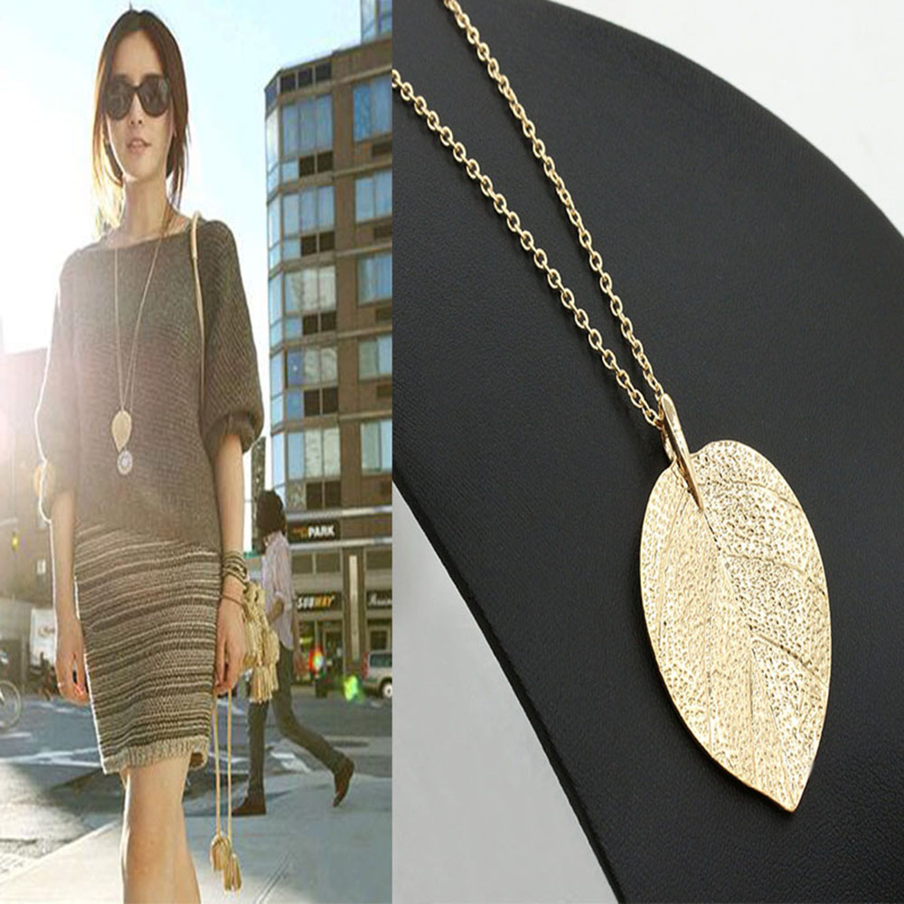 2016 New For Women Cheap Fashion Jewelry Maxi Necklace Gold Color Chain Leaf Design Pendant Necklaces & Pendants(China (Mainland))