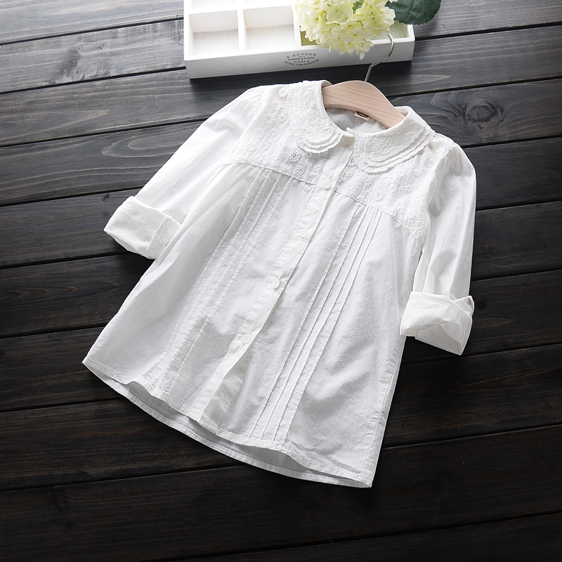 2016 New Lace Girls White Blouse Cute Cotton Long Shirts Baby Girl Blusas De Renda Feminino Kids Clothes Wholesale 8209(China (Mainland))