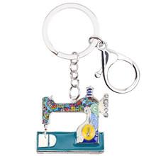 Bonsny esmalte aleación coser máquinas herramientas llaveros anillo colgante moda Vintage bolso coche monedero encantos regalo de cumpleaños(China)